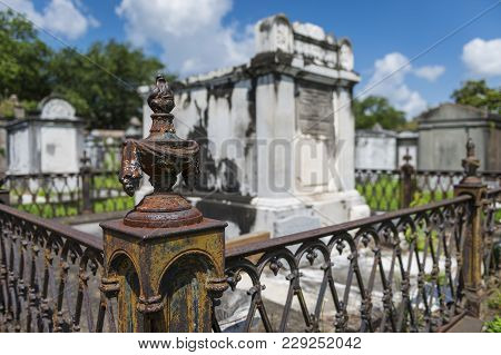 Detail Of A Tomb At The Lafayette Cemetery No. 1 In The City Of New Orleans, Louisiana, Usa