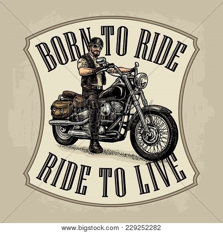 Man In The Motorcycle Helmet And Glasses Riding A Classic Chopper Bike. Side View. Born To Ride, Rid