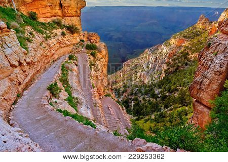 A View Of The Grand Canyon Near Sunset From The Top Of The Twisty And Switchbacking South Kaibab Tra