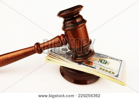 Judge Or Auctioneer Gavel On Cash Money