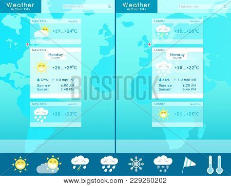 Weather Widget Template. Vector Illustration In A Flat Style.