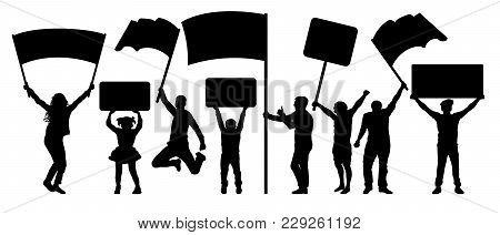 Crowd Of People Silhouette Set. Vector Isolated On White Background. A Man And A Woman In A Jump. Ba