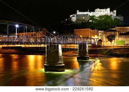Salzburg Castle At Night And The Long Exposure River