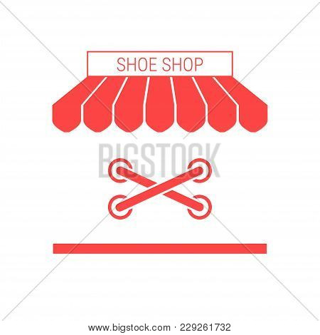 Shoe Shop, Footwear Repair Single Flat Vector Icon. Striped Awning And Signboard. A Series Of Shop I