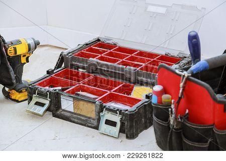 Well Used Old Tools And Red Tool Box Construction, Background Bag