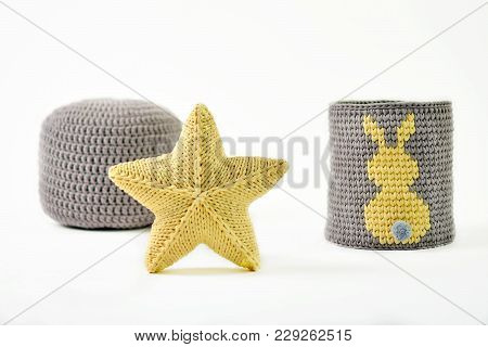 Yellow Knitted Five-pointed Star Shaped Pillow, Knitted Basket With Yellow Rabbit And Padded Stool O