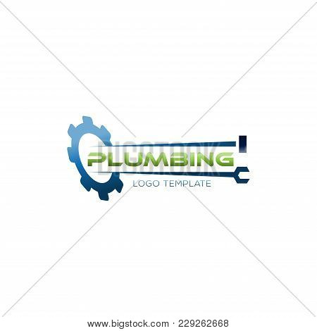 Plumbing Repair And Service Illustration. Gear, Wrench And Pipe Concept Vector Logo.