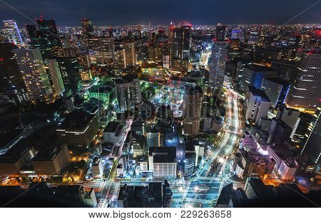 Aerial View Of The Tokyo Cityscape At Night