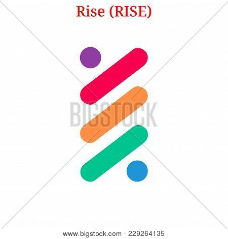 Vector Rise (rise) Digital Cryptocurrency Logo. Rise (rise) Icon. Vector Illustration Isolated On Wh