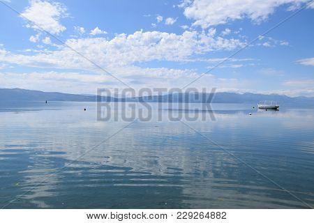 Boat Moored In Ohrid Lake, Macedonia Landscape.