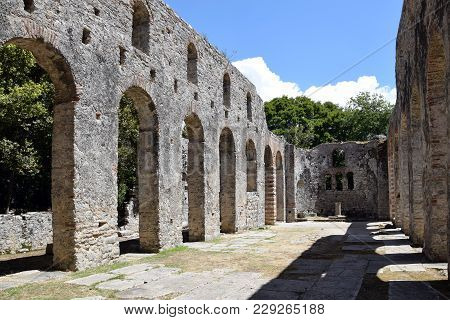 Ruins Of Church In Buthrotum, Ancient City In South Albania. Butrint - Unesco World Heritage.