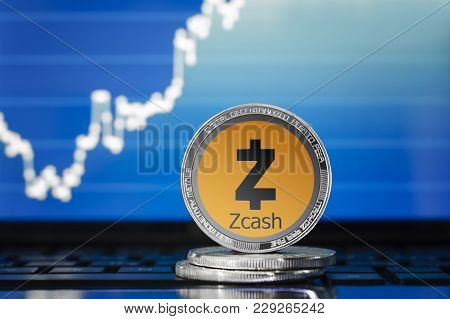 Zcash (zec) Cryptocurrency; Silver Zcash Coin On The Background Of The Chart