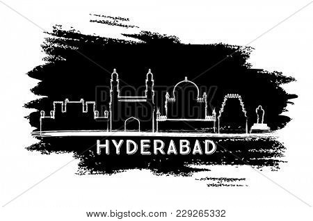 Hyderabad India City Skyline Silhouette. Hand Drawn Sketch. Business Travel and Tourism Concept with Historic Architecture. Hyderabad Cityscape with Landmarks.