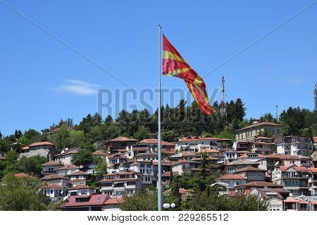 Macedonian Flag With Ohrid Town Background. Ohrid, Macedonia