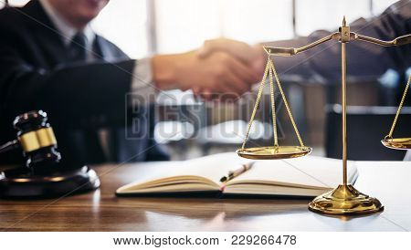 Handshake After Good Cooperation, Consultation Between A Male Lawyer And Businessman Customer, Tax A