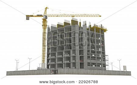 Worksite: Unfinished Building And Tower Crane Isolated