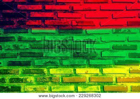 Wall Brick Rasta Flag As A Background,soft Color Background Of Reggae