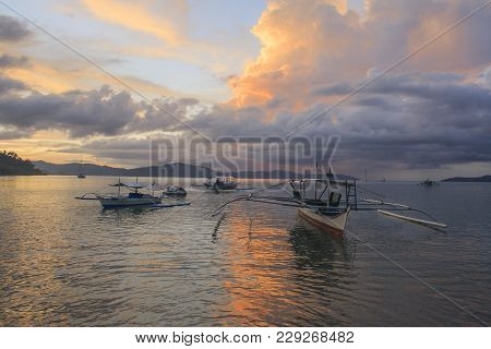 Sunset Of Port Barton Beach. The Island Of Palawan. Philippines.
