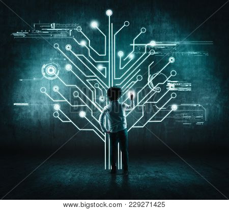 Businessman Working Of A Wall With A Circuit Board Tree, Toch Screen. The Concept Of Working On A Ne