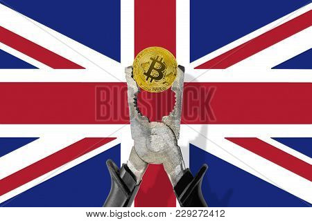 Bitcoin Coin Being Squeezed In Vice On The United Kingdom (uk) Flag Background; Concept Of Cryptocur