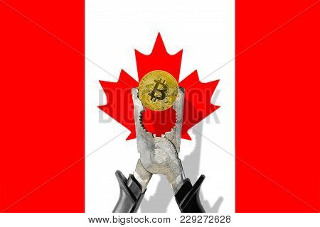 Bitcoin Coin Being Squeezed In Vice On The Canada Flag Background; Concept Of Cryptocurrency Bitcoin