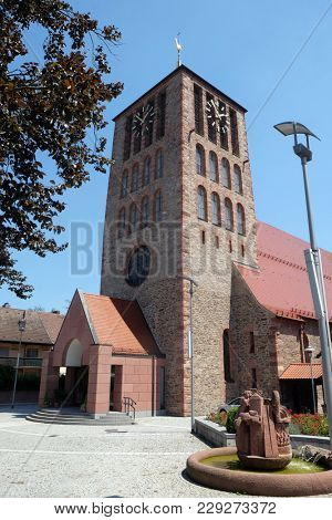 KLEINOSTHEIM, GERMANY - JULY 06: Saint Lawrence church in Kleinostheim, Germany on July 06, 2017.
