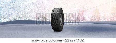 Digital composite of Tyre in Winter snow landscape