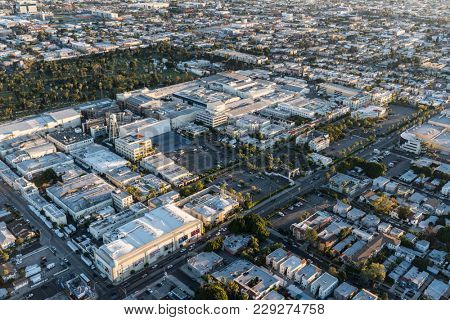 Los Angeles, California, USA - February 20, 2018:  Aerial view of Paramount Pictures Studio on Melrose Av in Hollywood.
