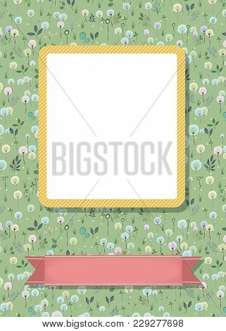 Floral Greeting Card. Graceful Blossoming Dandelions. Yellow Frame For Custom Photo. Pink Banner For