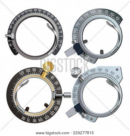 Trail Frame Set Vector. Healthcare Diopter Instrument. Medical Equipment Illustration