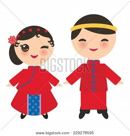 Chinese Boy And Girl In National Costume And Hat. Cartoon Children In Traditional China Dress. Isola