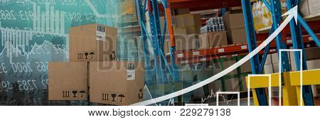 Digital composite of boxes in warehouse, transition