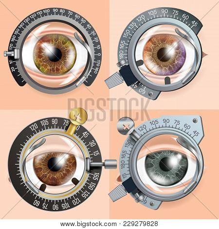 Eye Test Concept Vector. Correction Device. Clinic Consultation. Diagnostic Equipment. Optometrist C