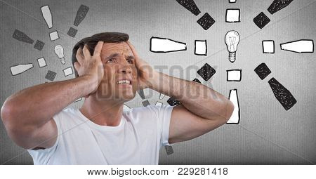 Digital composite of frustrated man covering ears