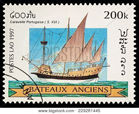 Moscow, Russia - March 03, 2018: A Stamp Printed In Laos Shows Ancient Portuguese Caravel (16th-cent