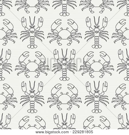 Flat Line Vector Seamless Pattern Ocean Fauna Lobster And Crab. Simplified Retro Style. Cancer. Omar