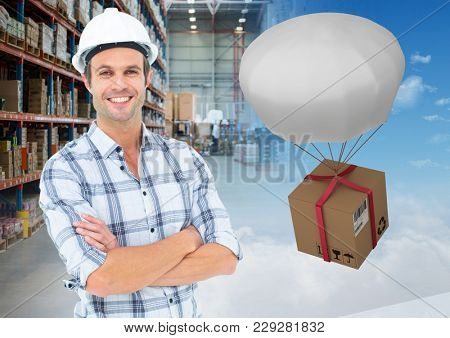 Digital composite of man with boxes in warehouse, transition