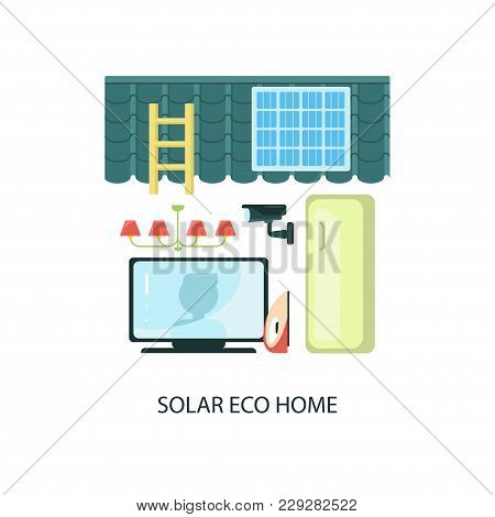Modern Eco Technologies In The City. Solar Energy Eco Home. Icons In Flat Design. Vector Illustratio