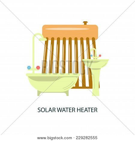 Modern Eco Technologies In The City. Solar Water Heater For Eco Home. Icons In Flat Design. Vector I