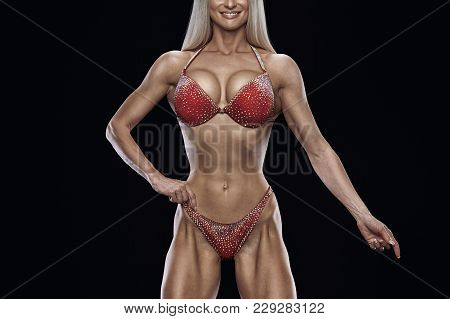 Cropped Photo Fitness Bikini Model Well Trained Body Sports Competition Female Champion Stage Athlet