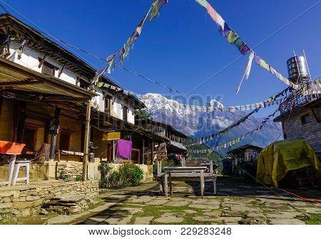 Ghandruk, Nepal - Oct 21, 2017. Rural Houses On Mountain In Ghandruk, Nepal. Ghandruk Is A Popular P