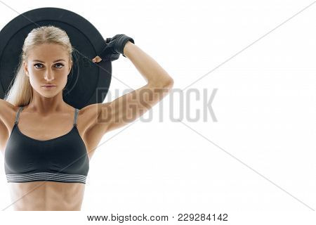 Cropped Photo Fit Confident Athlete Pumping Muscles With Heavy Weight Barbell Plate Perfect Fit Fitn