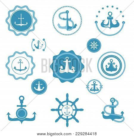 Vintage Retro Anchor Vector Icons And Label Sign Of Sea Marine Ocean Graphic Element Nautical. Marin