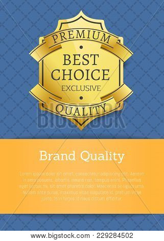 Brand Quality Exclusive Best Choice Premium Golden Label Poster With Gold Stamp Vector In Blue And O