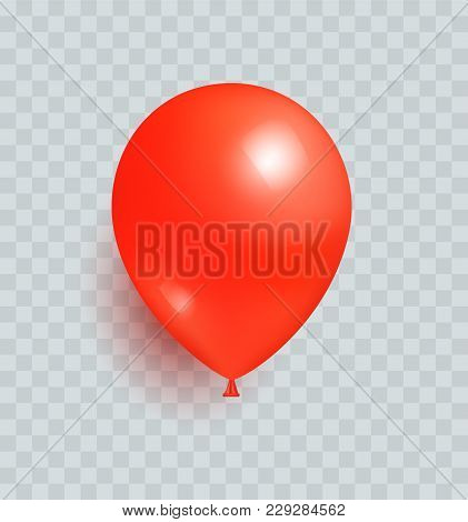 Balloon Of Red Color Realistic Design Vector Isolated On Transparent Background. Balloons Made From