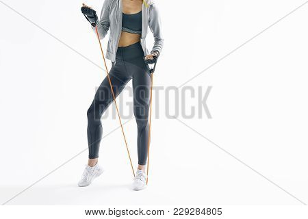Cropped Shot Of Fit Young Female Fitness Model Resistance Band Arms Workout Attractive Woman Athlete
