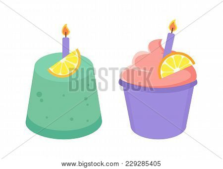 Birthday Cakes Collection, Cakes With Cream And Candles With Fire, Slice Of Fruit, Cupcake Baked For