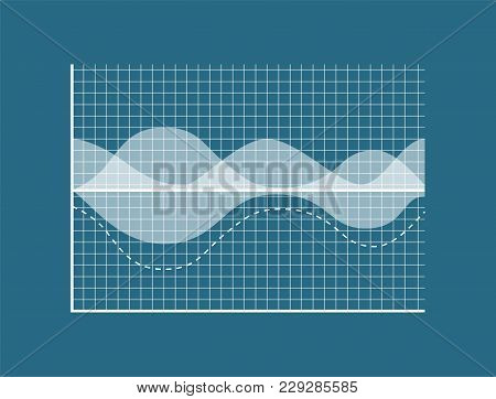 Transparent Graph Isolated On Blue Background, Data Represented In Graph, Special Net, Dashed Limita