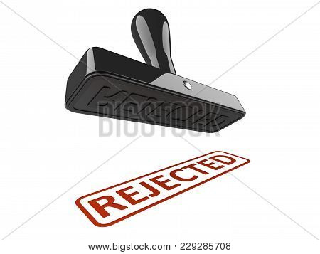 Rubber Stamp With Word - Rejected. 3d Illustration Isolated Over A White.