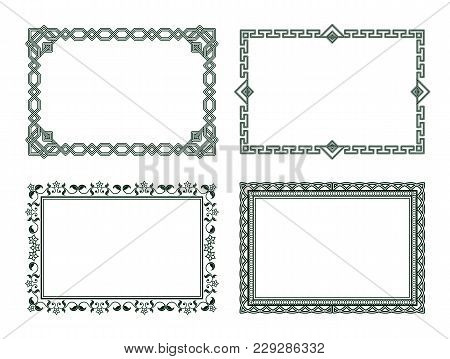 Vintage Frames Collection Grey Borders Isolated On White Background. Decorative Frames Set Ornamenta